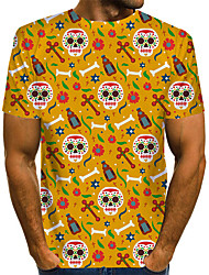 cheap -Men's Graphic Skull Red Print T-shirt Basic Exaggerated Daily Red / Yellow / Green