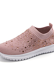cheap -Women's Loafers & Slip-Ons Spring & Summer Flat Heel Round Toe Sporty Sweet Daily Sparkling Glitter Knit / Elastic Fabric White / Black / Pink