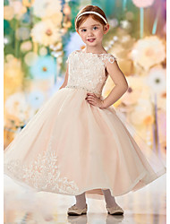 cheap -A-Line Ankle Length Flower Girl Dresses Party Lace Sleeveless Jewel Neck with Embroidery