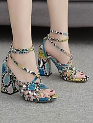 cheap -Women's Heels Summer Stiletto Heel Round Toe Daily PU Red / Blue
