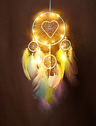 cheap -LED Boho Dream Catcher Handmade Gift Wall Hanging Decor Art Ornament Craft Feather Bead Heart 4 Circles 60*16cm for Kids Bedroom Wedding Festival