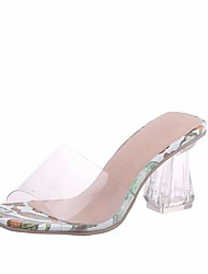 cheap -Women's Sandals Fall / Spring & Summer Crystal Heel Open Toe Sweet Minimalism Daily Party & Evening Crystal Floral PU Walking Shoes Dark Red / Light Green / Light Purple / Clear / Transparent / PVC