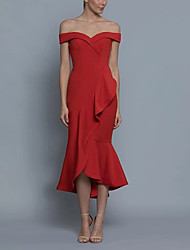 cheap -Sheath / Column Off Shoulder Ankle Length Chiffon Bridesmaid Dress with Ruffles