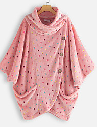 cheap -Women's Winter Cloak / Capes Daily Going out Plus Size Stand Regular Polka Dot Blue / Blushing Pink M / L / XL