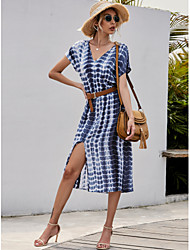 cheap -Women's Sheath Dress Midi Dress - Short Sleeves Color Block Summer Elegant Street chic Holiday Going out 2020 White S M L XL