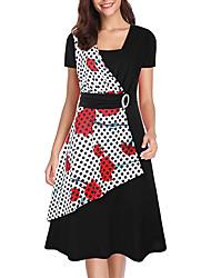 cheap -Women's A Line Dress - Short Sleeves Print Summer Fall V Neck Vintage 2020 Black S M L XL XXL