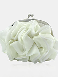 cheap -Women's / Girls' Flower Silk Evening Bag Solid Color White