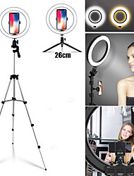 Недорогие -фото светодиодные селфи кольцо заполняющий свет 10-дюймовый диммируемый телефон камеры 26см кольцо лампы с подставкой штатив для макияжа видео в прямом эфире студии