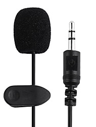 cheap -2PCS 1.5M 3.5mm Black Mini Studio Speech Mic Microphone Clip On Lapel for PC Notebook