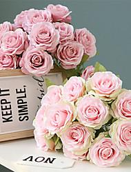 Недорогие -36см 12 пилообразных маленький свежий букет роз свадебный цветок настенные украшения искусственный цветок 1 букет