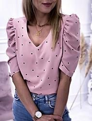 cheap -Women's Polka Dot T-shirt Daily V Neck Purple