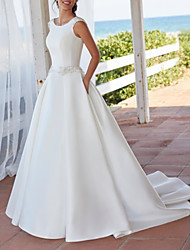 cheap -A-Line Wedding Dresses Jewel Neck Sweep / Brush Train Satin Sleeveless Simple with Crystal Brooch 2021