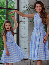 cheap -Mommy and Me Vintage Sweet Blue & White Geometric Color Block Bow Print Sleeveless Knee-length Dress Blue