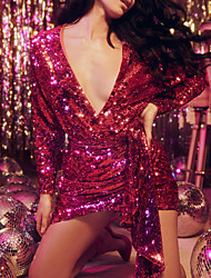 cheap -Sheath / Column Hot Sparkle Party Wear Cocktail Party Dress V Neck Long Sleeve Short / Mini Sequined with Sequin 2020