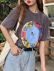 billige -Dame Geometrisk T-skjorte Daglig Mørkegrå