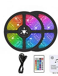 cheap -10m LED RGB Strip Light Set Music Remote Controls 300 LEDs 5050 SMD 10mm TikTok Light 12V 6A Adapter 24Keys Remote Controller 1 set RGB Waterproof Cuttable  Party 110-240 V