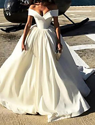 cheap -A-Line Wedding Dresses Off Shoulder Court Train Satin Chiffon Over Satin Short Sleeve Sexy with Pleats Pearls 2020