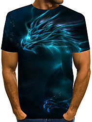 cheap -Men's T shirt Graphic Optical Illusion Plus Size Print Short Sleeve Daily Tops Basic Exaggerated Blue Purple Red