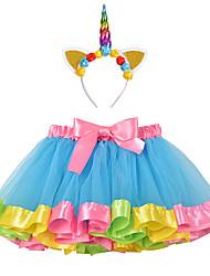 cheap -Princess Unicorn Dress Outfits Girls' Movie Cosplay A-Line Slip Vacation Dress Purple Yellow Light Purple Skirt Headband Children's Day Masquerade