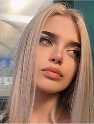 cheap -Synthetic Lace Front Wig Straight Gaga Middle Part Lace Front Wig Medium Length Grey Synthetic Hair 14-16 inch Women's Heat Resistant Women Hot Sale Gray / Glueless