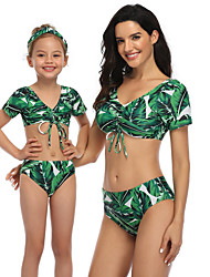 cheap -2 Piece Mommy and Me Active Sweet Geometric Color Block Graphic Backless Ruched Print Short Sleeve Short Above Knee Swimwear Green