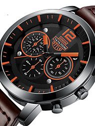 cheap -Men's Dress Watch Quartz Genuine Leather 30 m Water Resistant / Waterproof Calendar / date / day Day Date Analog Fashion Cool - Red Black / White Coffee One Year Battery Life