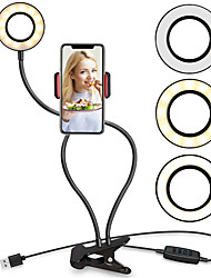 cheap -Universal LED Selfie Ring Light Supplementary Lighting Selfie Enhancing Fill Light with Phone Holder For iPhone Smartphones Live