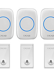 cheap -CACAZI Self-powered Wireless Doorbell No Battery Waterproof 3 Button 3 Receiver US EU AU UK Plug 58 Chime Home Cordless Doorbell