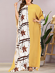 cheap -Women's Plus Size Maxi Shift Dress - Half Sleeve Geometric Summer Casual Elegant Daily Going out Batwing Sleeve Loose 2020 Yellow One-Size