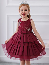 cheap -Ball Gown Knee Length Wedding / Party Flower Girl Dresses - Tulle / Mikado Sleeveless Jewel Neck with Bow(s) / Tier / Paillette