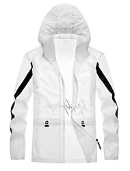 cheap -Men's Hiking Skin Jacket Hiking Jacket Summer Outdoor Windproof Sunscreen Breathable Quick Dry Jacket Top Elastane Single Slider Running Hunting Fishing Red and White / Grey / Blue / Black / White