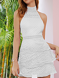 cheap -Women's A-Line Dress - Sleeveless Solid Color Patchwork Zipper Summer Elegant Boho Holiday Going out 2020 White Purple S M L