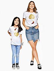 abordables -Maman et moi Actif Basique Graphique Imprimé Manches Courtes Normal Tee-shirts Blanche