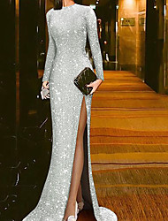 cheap -Mermaid / Trumpet Beautiful Back Sparkle Party Wear Formal Evening Dress Jewel Neck Long Sleeve Sweep / Brush Train Sequined with Sequin Split 2020