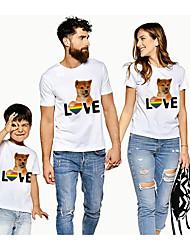 cheap -Family Look Active Basic Graphic Animal Letter Print Short Sleeve Regular Tee White