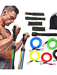 cheap -Resistance Band Set 11 pcs Sports TPE Home Workout Gym Pilates Muscular Bodyweight Training Muscle Building Full Body Strength For Men Women