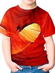 Недорогие -Дети Девочки Активный Классический 3D С короткими рукавами Футболка Оранжевый
