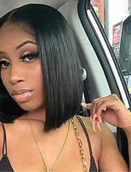 cheap -Synthetic Lace Front Wig Straight Minaj Middle Part Lace Front Wig Short Black#1B Synthetic Hair 14-16 inch Women's Heat Resistant Women Hot Sale Black / Glueless