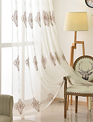cheap -Two Panel European Style Embroidered Yarn Curtain Semi-Transparent Living Room Bedroom Study Curtain