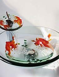 cheap -Round Carved Goldfish Tempered Glass Vessel Sink with Waterfall Faucet Pop Up Drain and Mounting Ring