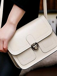 cheap -Women's PU Leather Crossbody Bag Leather Bag Solid Color Wine / White / Black / Fall & Winter