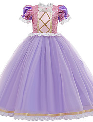 cheap -Princess Sofia Rapunzel Dress Flower Girl Dress Girls' Movie Cosplay A-Line Slip Vacation Dress Purple / Red Dress Children's Day Masquerade Tulle Sequin Cotton