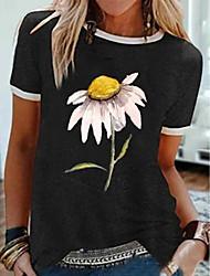 preiswerte -Damen Blumen T-shirt Alltag Schwarz / Grau