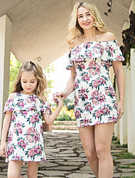 cheap -Mommy and Me Boho Sweet Floral Print Sleeveless Knee-length Dress Blushing Pink