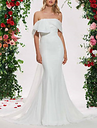 cheap -Mermaid / Trumpet Wedding Dresses Off Shoulder Sweep / Brush Train Organza Satin Sleeveless Sexy Backless with Sashes / Ribbons Ruched 2020