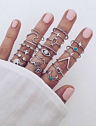 cheap -Women's Ring Set Silver Alloy Circular Boho Street Jewelry