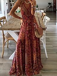 cheap -Women's Maxi A Line Dress - Sleeveless Geometric Summer Strap Street chic 2020 Orange S M L XL