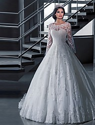 cheap -A-Line Wedding Dresses Off Shoulder Court Train Lace Tulle Long Sleeve Formal Sexy Illusion Sleeve with Appliques 2020