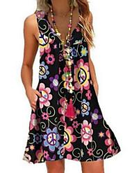 cheap -Women's A-Line Dress Short Mini Dress - Sleeveless Floral Summer V Neck Hot Elegant Loose 2020 White Black Navy Blue S M L XL XXL 3XL 4XL 5XL