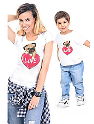 cheap -Mommy and Me Active Basic Graphic Animal Print Short Sleeve Regular Tee White